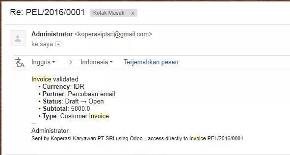 Contoh Invoice Email